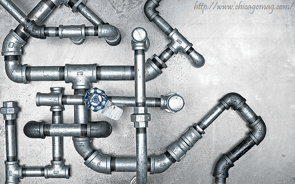 Silver plumbing pipes