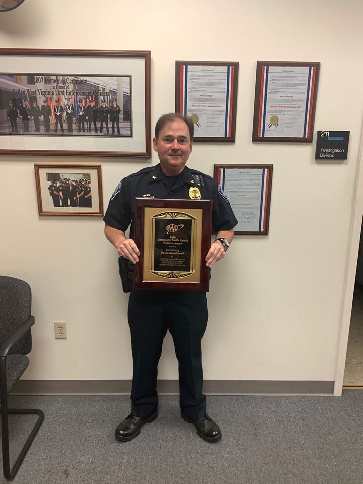 jason snider with AAA Platinum Award for Community Traffic Safety Program