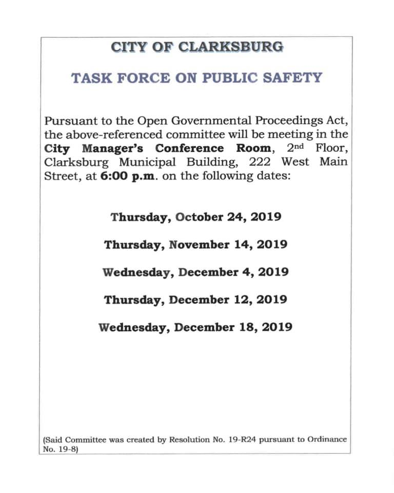 task force on public safety schedule